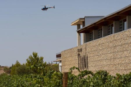 Helicopter flight and wine tasting